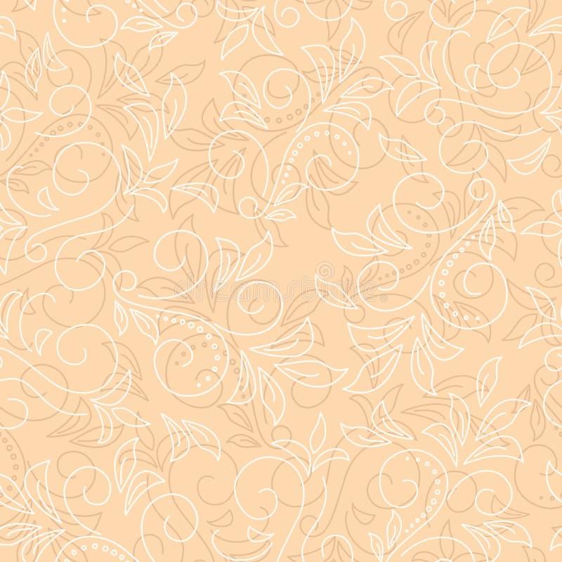 Beleuchten Sie beige vektornahtlosen Blumenhintergrund stock abbildung