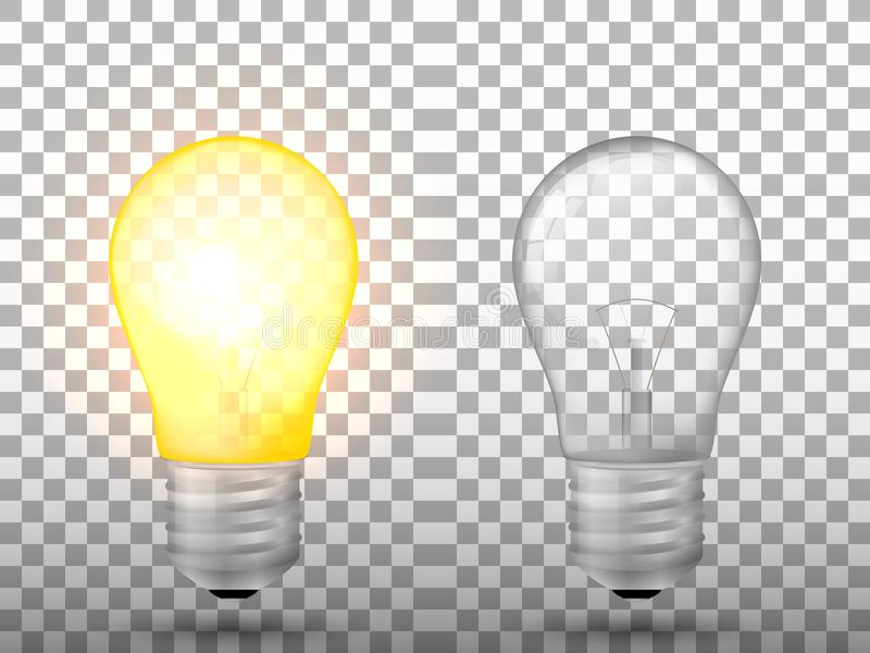 Beleuchtet und weg von der Glühlampe auf einem transparenten Hintergrund geschaltet vektor abbildung