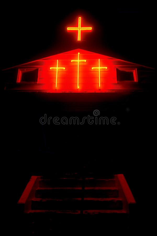 Beleuchtete Kreuze in Kansas lizenzfreies stockfoto