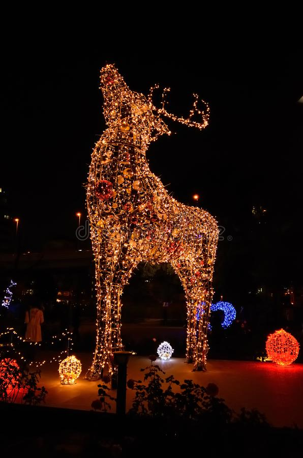 beleuchtung am park in osaka japan stockfoto  bild von