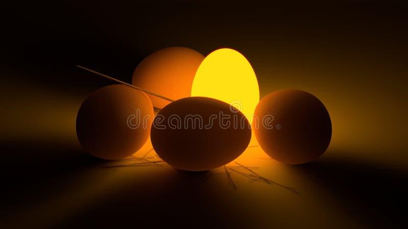 Beleuchtungs-Ei unter gewöhnlichen Eiern stockbilder