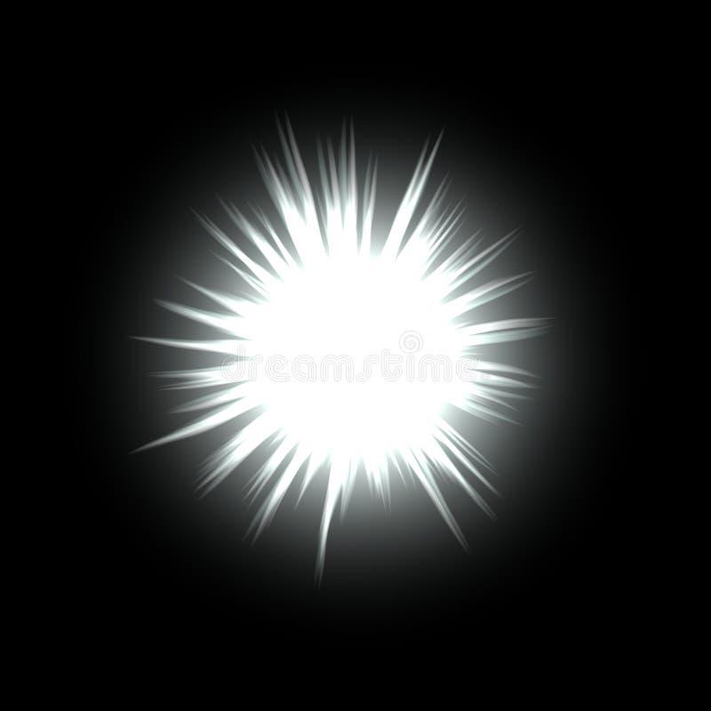 Beleuchtungsballkugel oder -stern mit Aufflackern im Raum lizenzfreie abbildung