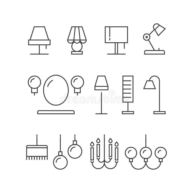 Beleuchtungsikonensammlung - Lampen, Stehlampen lizenzfreie abbildung