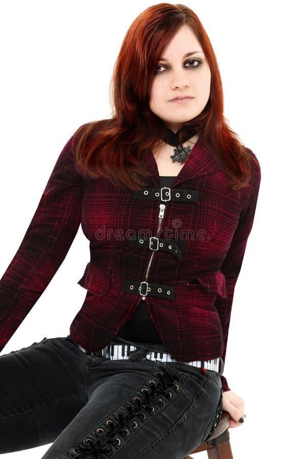 Beleza adolescente de Goth do gengibre imagem de stock