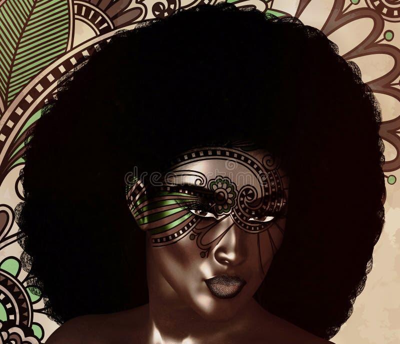 Beleza afro-americano da forma, penteado na moda do Afro ilustração royalty free