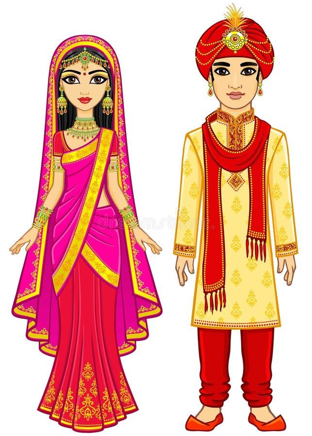Beleza asiática Família indiana da animação na roupa tradicional ilustração do vetor