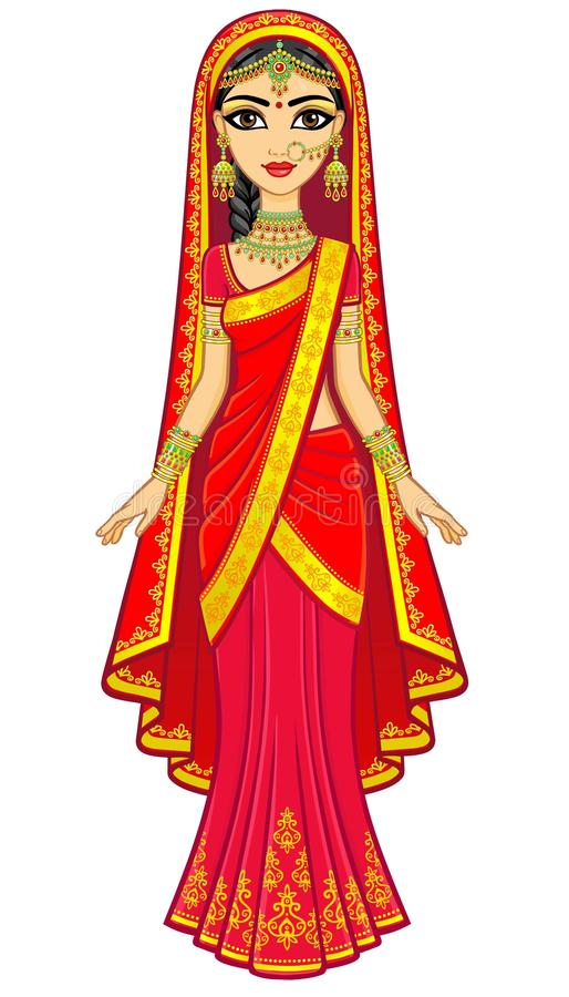 Beleza asiática Retrato da animação da menina indiana nova na roupa tradicional Princesa do conto de fadas ilustração royalty free
