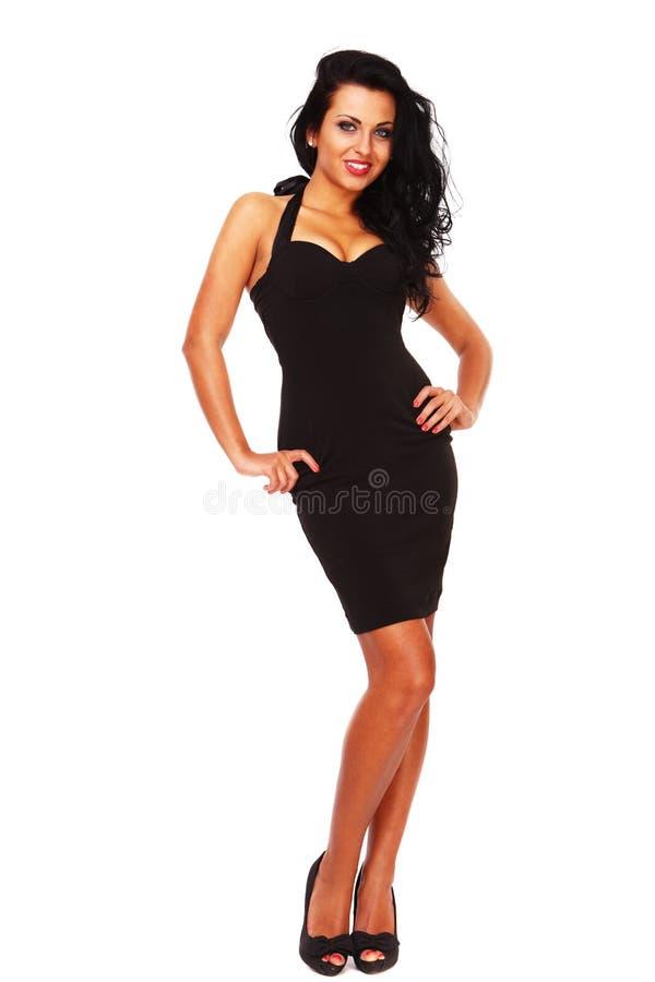 Beleza Brunett no fundo branco foto de stock royalty free