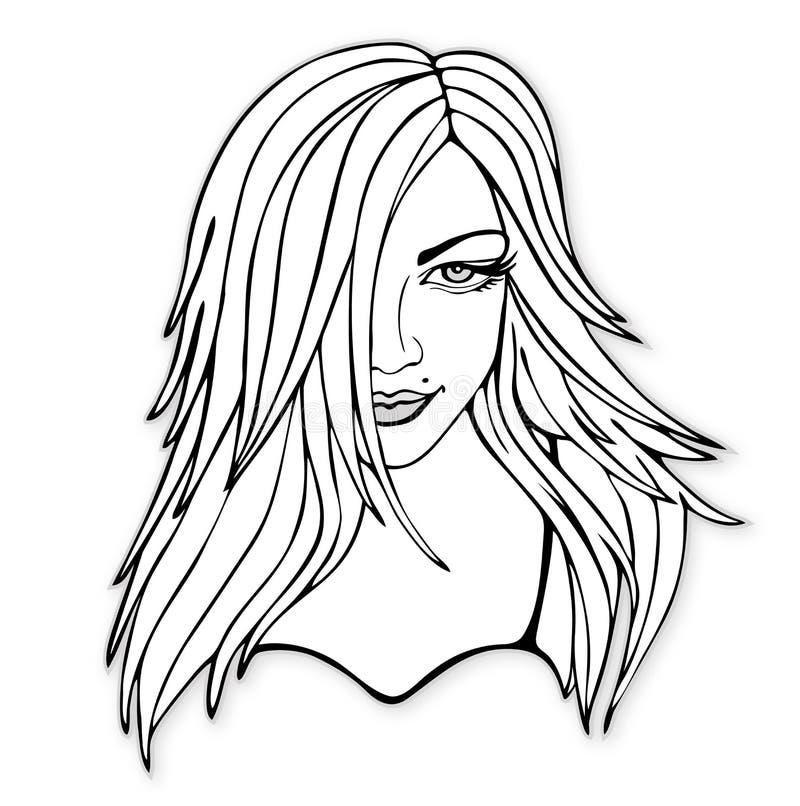 Beleza com cabelo abundante ilustração stock