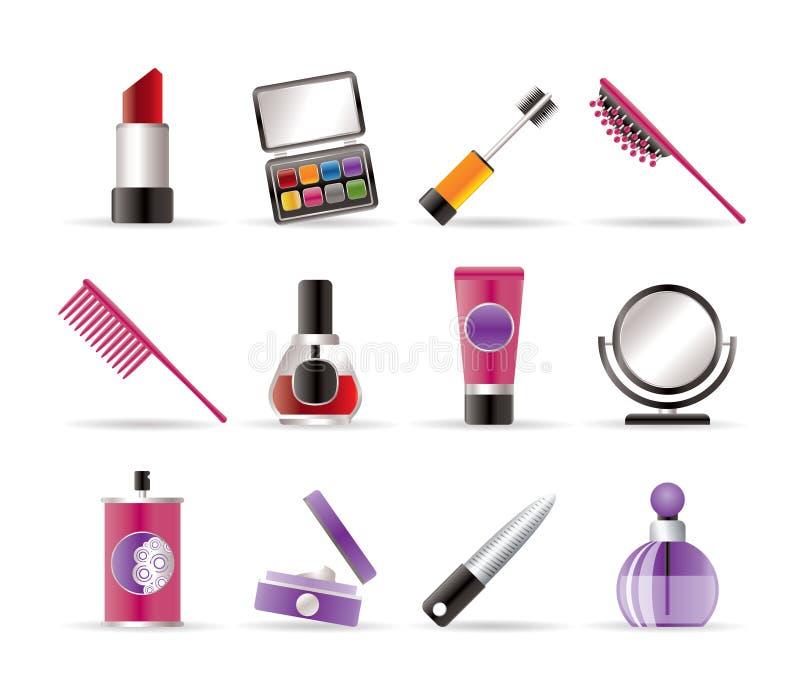 Beleza, cosmético e ícones da composição ilustração royalty free