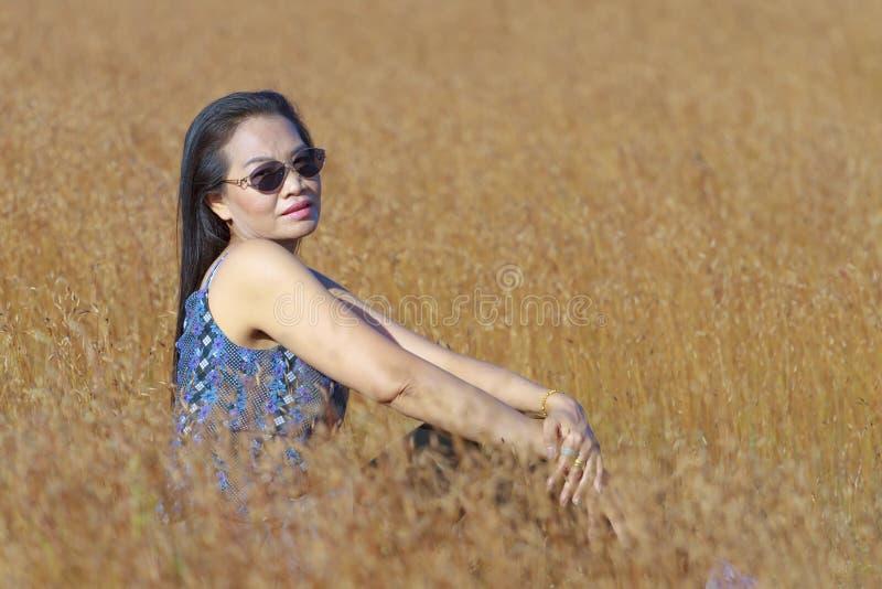 Beleza da mulher exterior no campo fotografia de stock