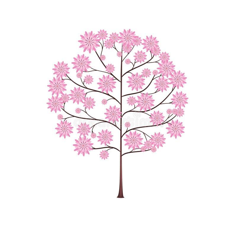 Beleza da natureza da mola do sumário da flor da árvore efeminado ilustração do vetor