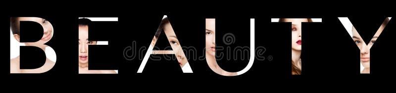 Beleza da palavra criada com as letras do retrato da composição foto de stock