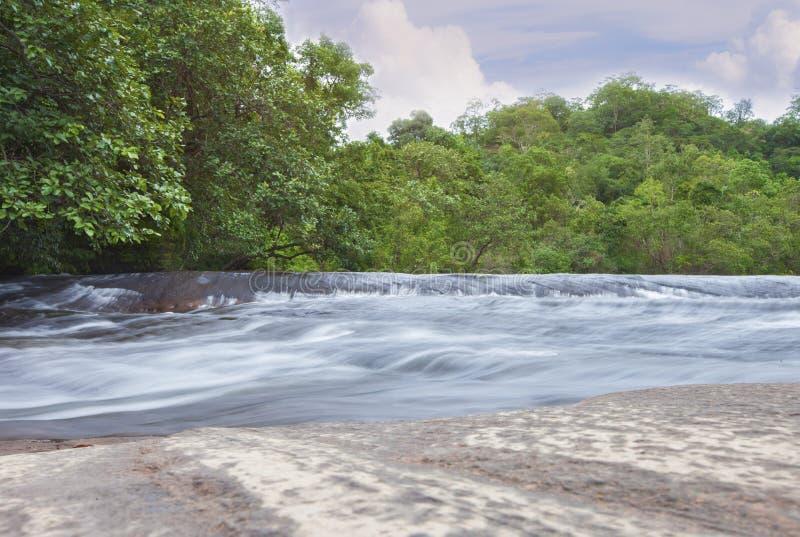 Beleza de surpresa do santuário de animais selvagens asiático de Phuwua da cachoeira de Chet Si da natureza no parque da nação de foto de stock royalty free