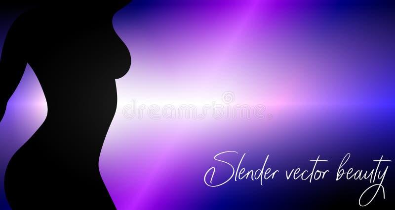 Beleza delgada do vetor Fundo bonito do vetor com silhueta da menina ilustração do vetor