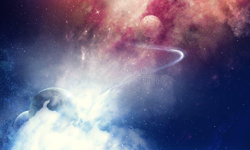 Beleza do espaço profundo com planetas e estrelas fotografia de stock