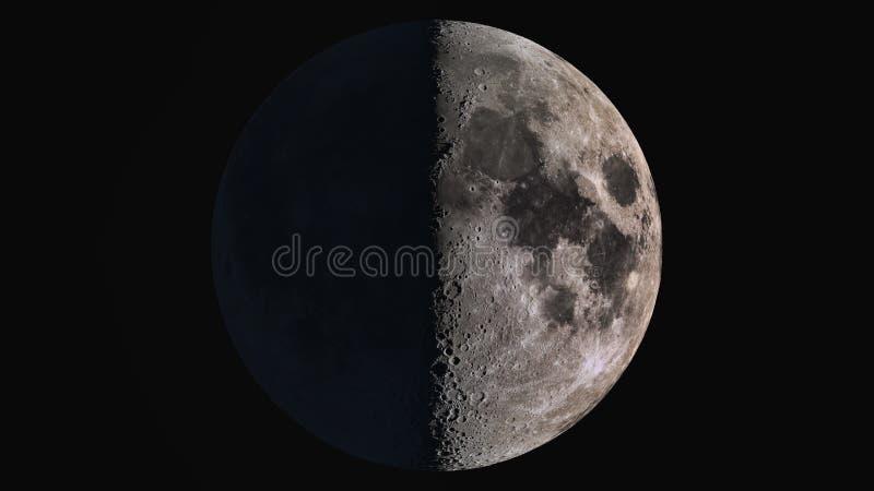A beleza do universo: Lua detalhada super maravilhosa do primeiro trimestre ilustração stock
