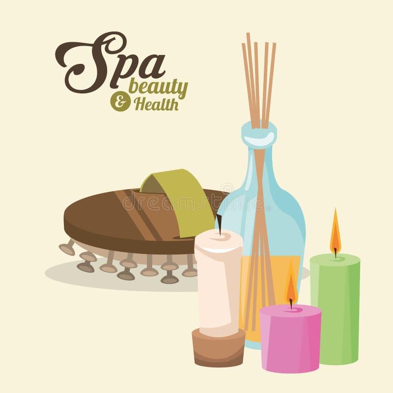 A beleza dos termas e o tratamento das massagens da saúde incense varas ilustração stock