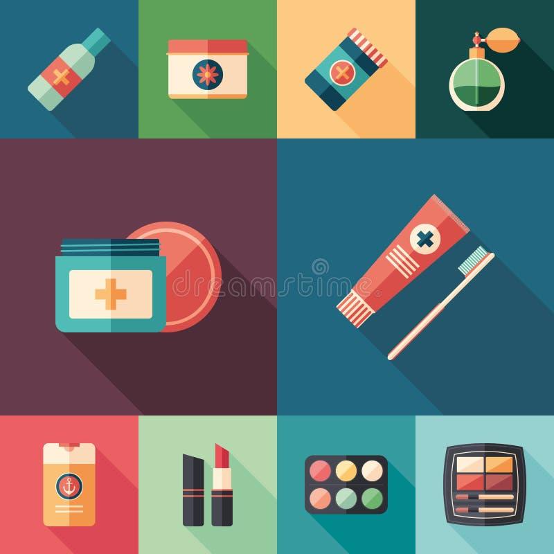 Beleza e grupo da saúde de ícones quadrados lisos com sombras longas ilustração stock