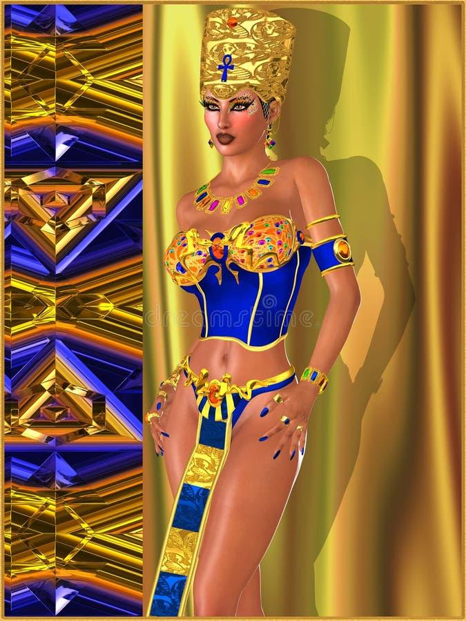 Beleza egípcia com composição adornado com joias do olho ilustração stock