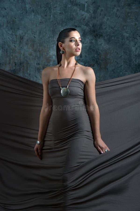 A beleza elegante olha modelo com cabelo marrom longo, pele fresca, wea fotografia de stock