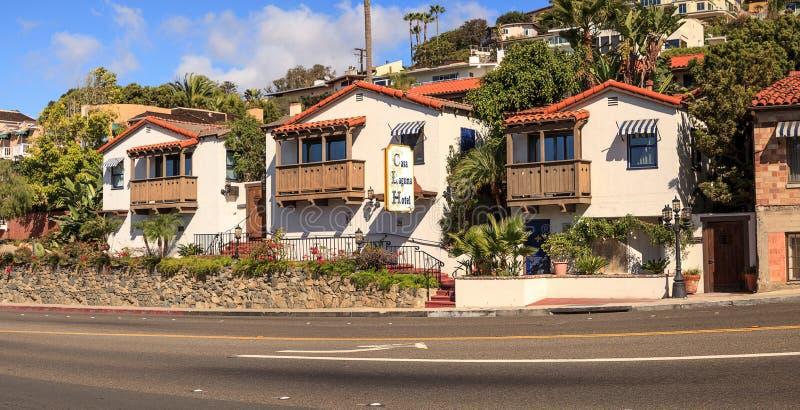 Beleza espanhola clássica do estilo da missão do hotel de Laguna da casa fotografia de stock