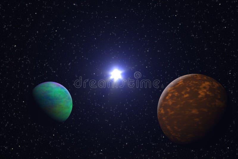 Beleza, estrelas, planetas e galáxia do espaço profundo no universo infinito ilustração royalty free