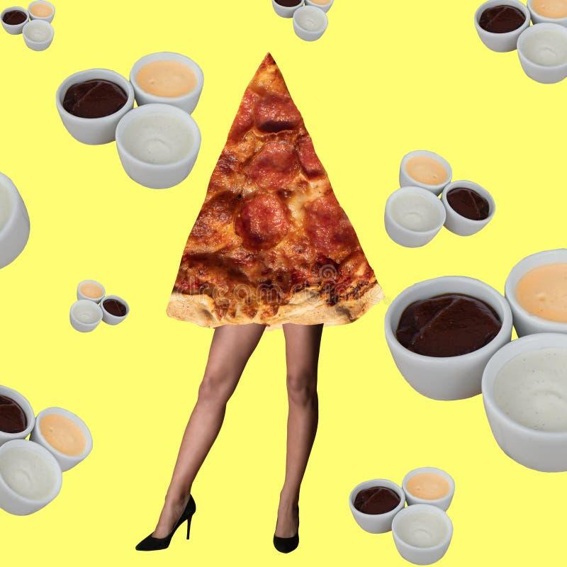 Beleza fêmea e pizza do conceito mínimo da forma do projeto imagens de stock