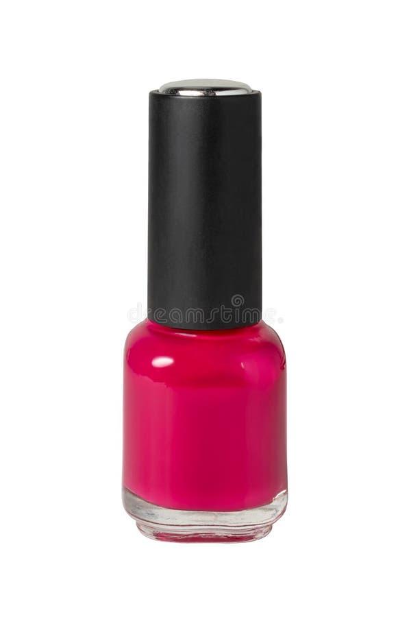 Beleza, forma e arte do prego Garrafa do verniz para as unhas colorido vermelho isolado no branco foto de stock royalty free