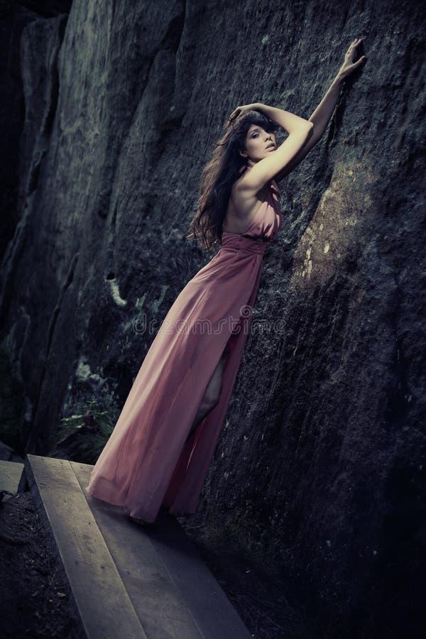 Beleza impressionante em um vestido elegante imagem de stock