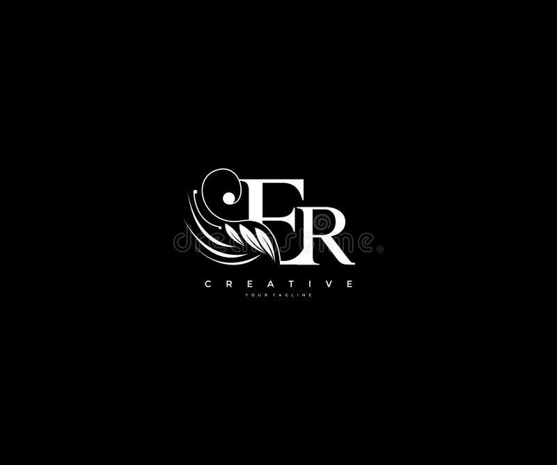 A beleza inicial do luxo da letra do ER floresce o logotipo do monograma do ornamento ilustração do vetor
