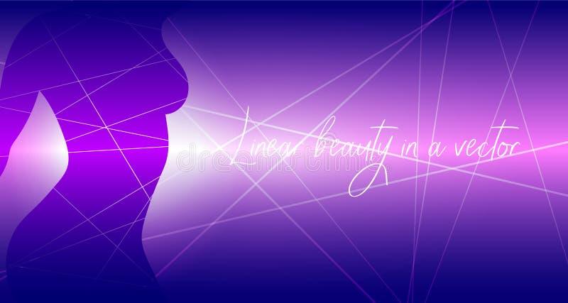 Beleza linear em um vetor Fundo bonito do vetor com silhueta da menina ilustração do vetor