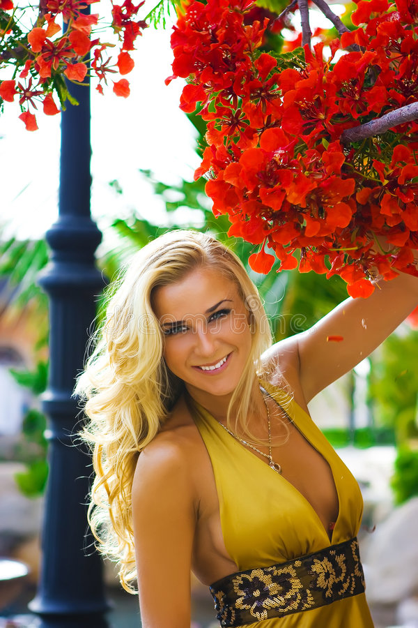 Beleza no vestido amarelo imagens de stock
