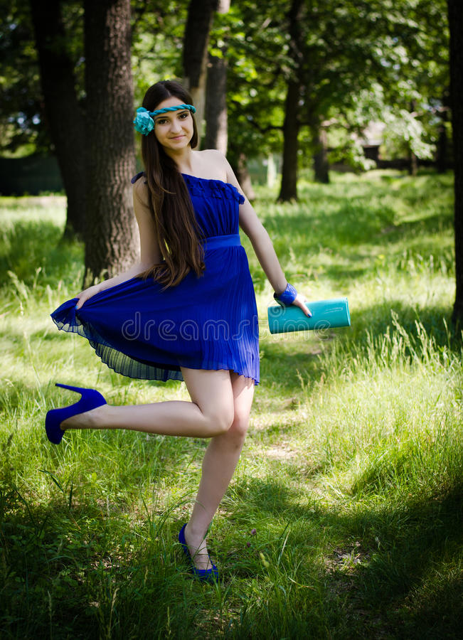 Beleza No Vestido Azul Imagens de Stock