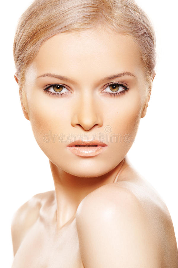 Beleza 'sexy' natural com composição do bege do dia da forma foto de stock royalty free