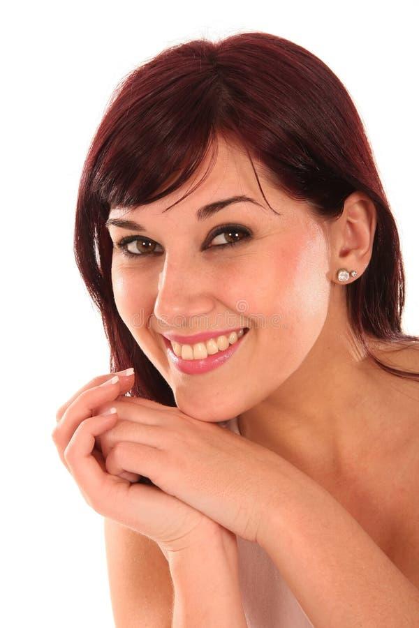 Beleza triguenha de sorriso imagem de stock