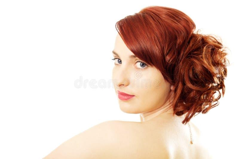 Beleza vermelha do cabelo imagens de stock