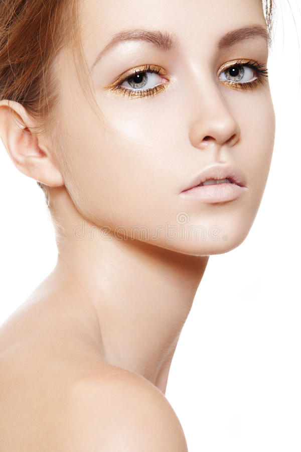 Beleza, wellness, cuidado de pele. Face modelo limpa macia imagens de stock royalty free