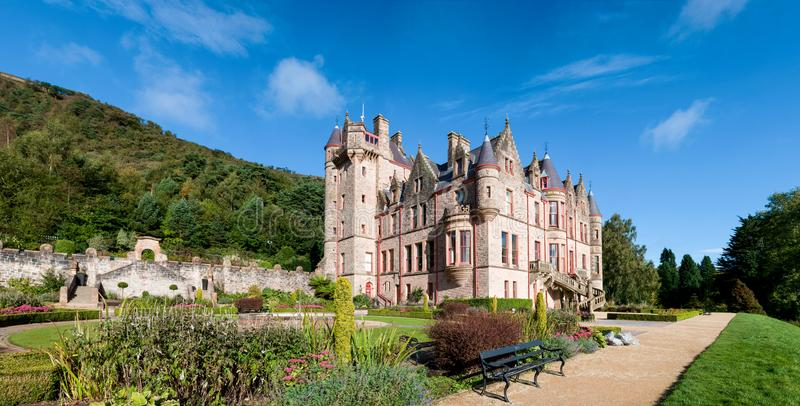 Belfast Castle Panorama, Northern Ireland, UK. Belfast castle panorama. Tourist attraction on the slopes of Cavehill Country Park in Belfast, Northern Ireland stock photos