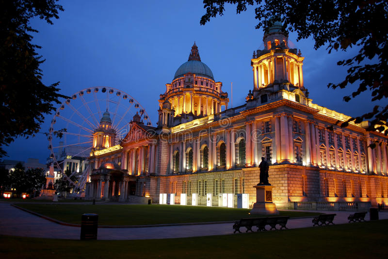 Belfast City Hall and Belfast Eye stock photo
