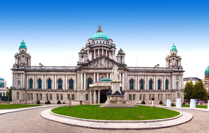 Belfast City Hall. And Donegall Square, Northern Ireland, UK royalty free stock photos