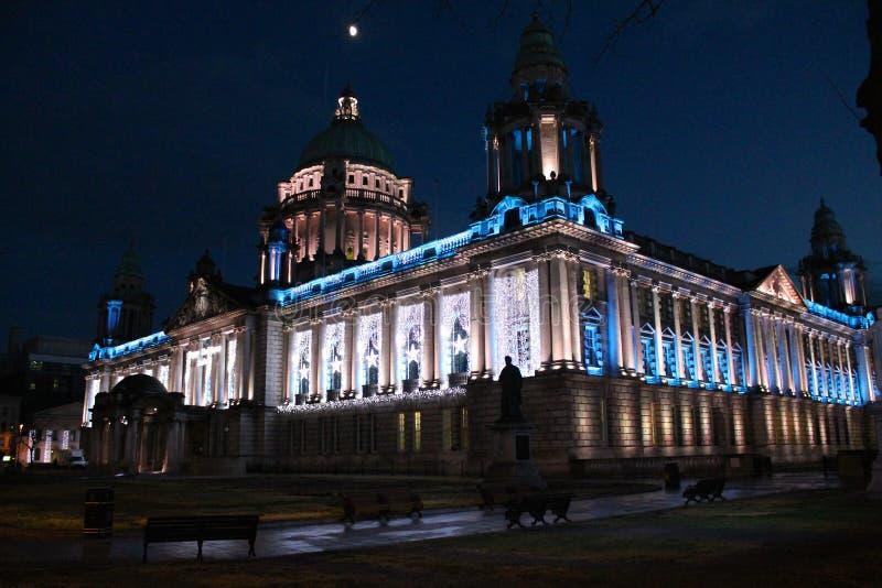 Belfast City Hall, Northern Ireland. Belfast City Hall adorned in Christmas lights, Northern Ireland royalty free stock image