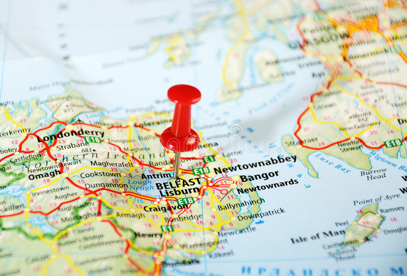 Belfast Ireland ,United Kingdom map. And pin - Travel concept royalty free stock photo