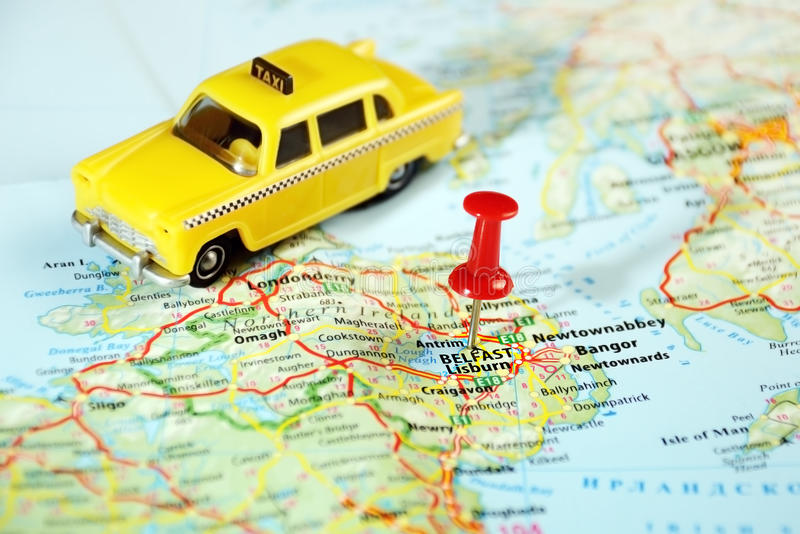 Belfast Ireland ,United Kingdom map taxi. And pin - Travel concept royalty free stock images