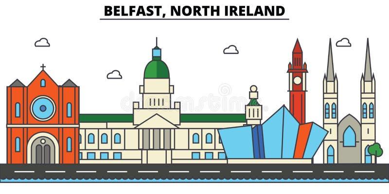 Belfast, Irlanda norte Arquitetura da skyline da cidade ilustração royalty free