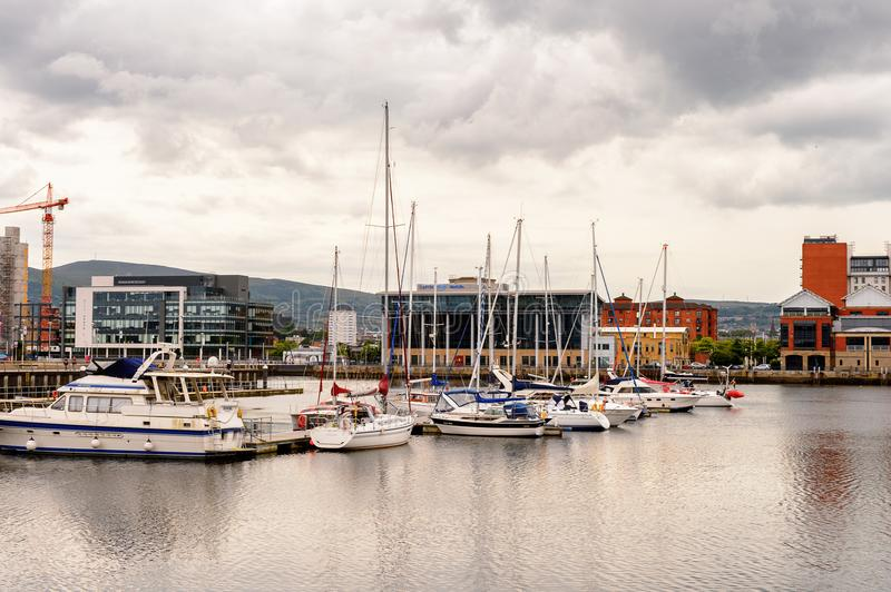 Architecture of Belfast, Northern Ireland. BELFAST, NI - JULY 14, 2016: Titanic Belfast Harbour, a major maritime hub in Northern Ireland known as Queen's Island royalty free stock photos