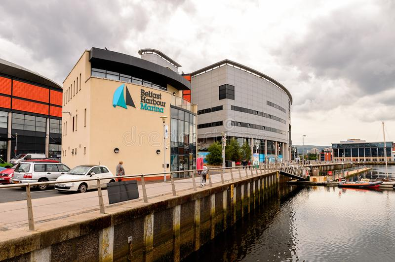 Architecture of Belfast, Northern Ireland. BELFAST, NI - JULY 14, 2016: Titanic Belfast Harbour, a major maritime hub in Northern Ireland known as Queen's Island stock photos