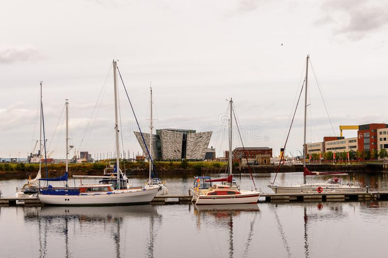 Architecture of Belfast, Northern Ireland. BELFAST, NI - JULY 14, 2016: Titanic Belfast Harbour, a major maritime hub in Northern Ireland known as Queen's Island stock image