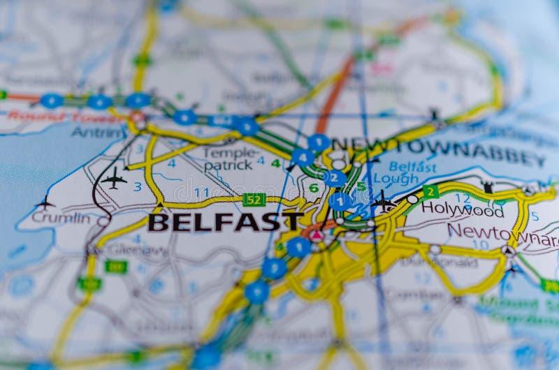 Belfast no mapa fotografia de stock