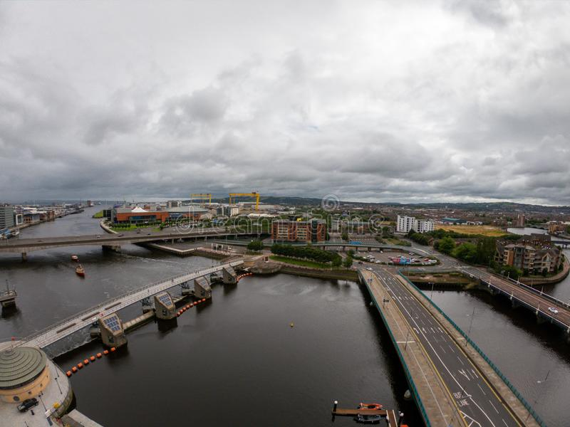 Belfast, Northern Ireland Aerial view of architecture and buildings. View on City from above.  royalty free stock photos